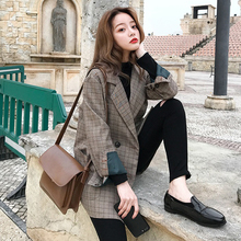 Suit early autumn texture Plaid Korean suit top