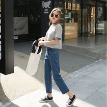 The Korean version of slimming high waist easing students  spring leisure straight jeans