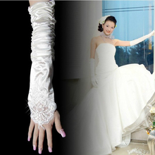 ブライダルグローブウェディングドレスアクセサリー肘の上に長い指のない乳白色の赤いフックの指の長い手袋のひだ