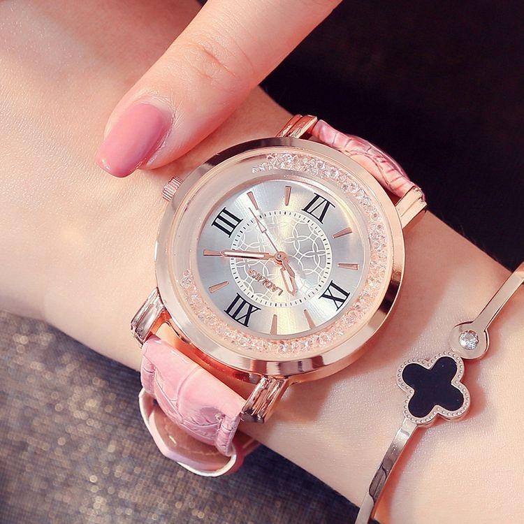 新款时尚流动水钻女表石英机心学生皮带表带大表盘女士手表