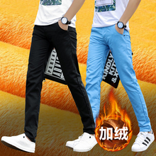 New Men's Leisure Pants, Slim and Thickened Plush Trousers, Korean Version of the Fashion Pants, Men's Autumn and Winter Trousers, Straight Cylinder