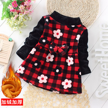 Warm flower skirt in autumn and winter thick children's long sleeve Plush Princess Dress