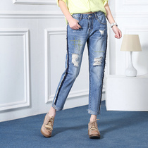 New surge in spring and summer in the waist slim nine ripped jeans women cotton small straight jeans size nine pants trousers