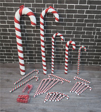 Christmas necessities pendant red and white cane decoration props plastic painting 15 to 90CM crutches decoration single