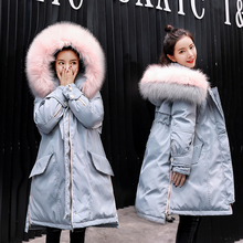 2018 new pregnant women's cotton clothes, Korean version, loose cotton padded jacket, women's middle length, thickening, warm down, cotton clothes, winter coat.
