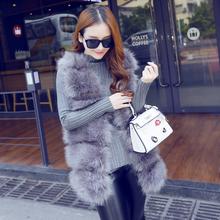 Fur new medium long fox hair patchwork coat shows thin vest