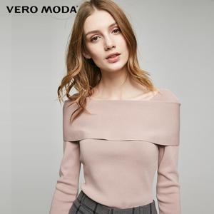 专区满399送面霜VeroModa一字领设计修身微弹针织衫|317124546专区申请