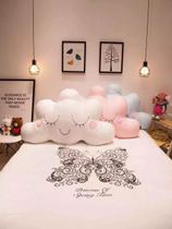 Korea creative cloud bed pillow cute cute clouds cotton fine embroidery for children back removable and washable