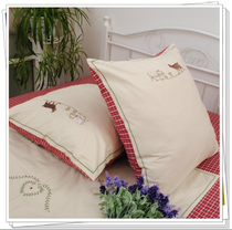 Foreign cotton bedding soft pure cotton yarn-dyed red Embroidered Pillow hug pillowcase size red sheep