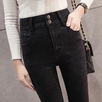 Spring and summer black slim slimming high waist skinny jeans
