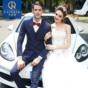 卡杰雷西服套装男士三件套新郎结婚婚礼西装英伦礼服修身商务正装西服套装