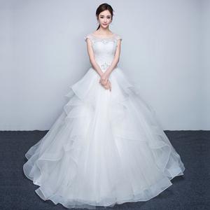 婚纱礼服新娘 齐地 双肩韩式抹胸一字肩修身拖尾显瘦2016新款夏季婚纱