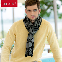 LANMER 2014 new upscale gift mens cashmere scarf scarves Korean version of the grid to keep warm in autumn and winter