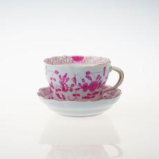 Стакан 德国meissen梅森名瓷手绘金边紫色印度画咖啡杯+碟 西洋瓷器古董