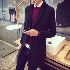 秋季男装男士中长款风衣冬季韩版修身毛呢大衣英伦学生呢子外套潮男士毛呢外套