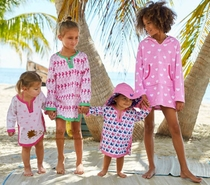 Stay cute and lovely childrens sunscreen beach clothing out of little smock comfortable air in larger size