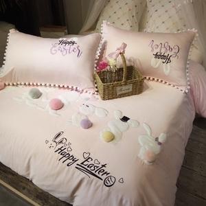 粉色卡通全棉四件套公主风床上用品60埃及长绒棉贴布绣可爱兔春夏四件套