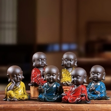 Zen small sand six degrees, small monk decoration, living room office decoration, living room, wine kitchen crafts.