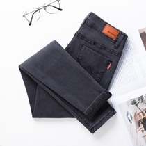 Grey elastic high waist slim Korean pencil pants